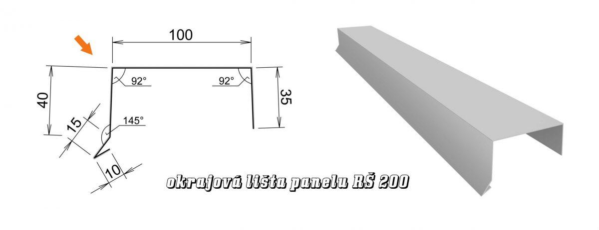 Okrajová lišta panelu var. B (13B / 2,4 kg)