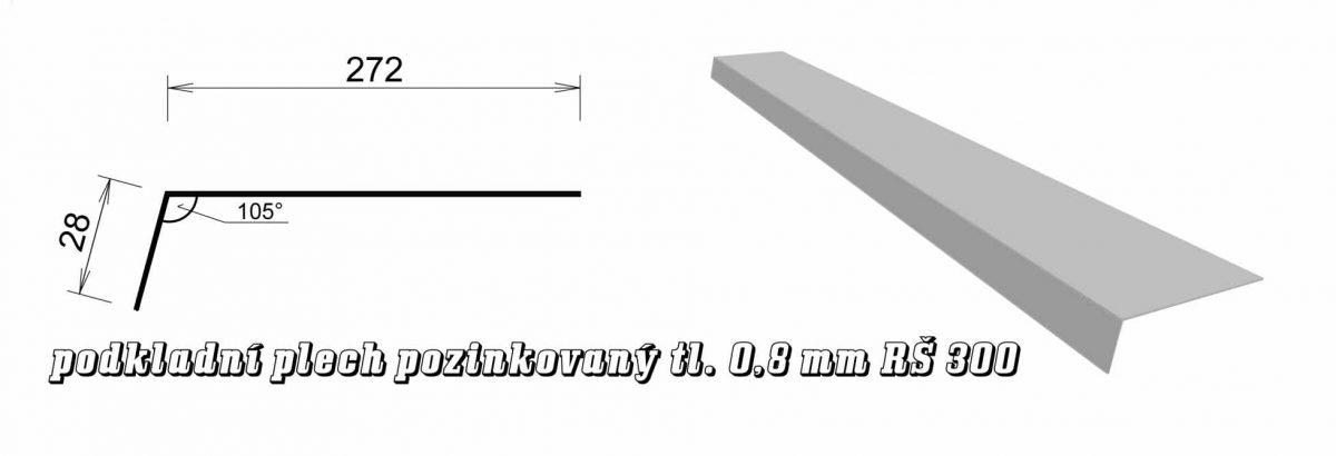 Podkladní plech pozinkovaný - 0,80 mm var. B (15B / 4,8 kg)
