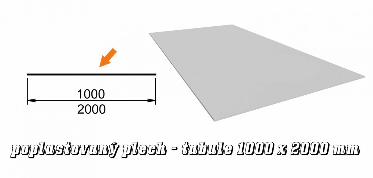 Tabule poplastovaný plech Viplanyl 60 - 2000 x 1000 mm (12 kg)
